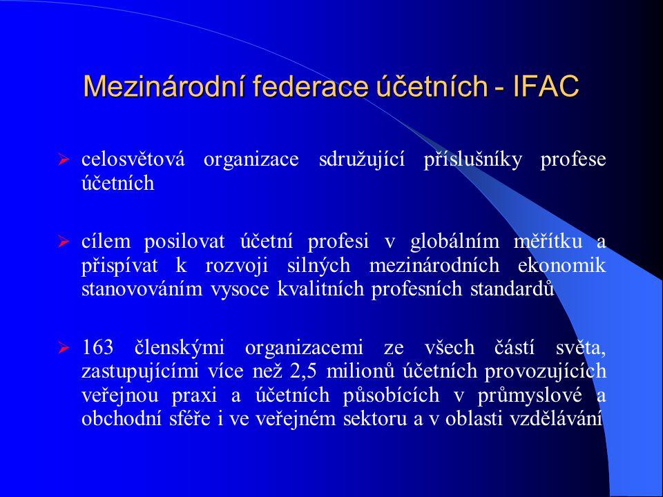 Mezinárodní federace účetních - IFAC  celosvětová organizace sdružující příslušníky profese účetních  cílem posilovat účetní profesi v globálním měřítku a přispívat k rozvoji silných mezinárodních ekonomik stanovováním vysoce kvalitních profesních standardů  163 členskými organizacemi ze všech částí světa, zastupujícími více než 2,5 milionů účetních provozujících veřejnou praxi a účetních působících v průmyslové a obchodní sféře i ve veřejném sektoru a v oblasti vzdělávání