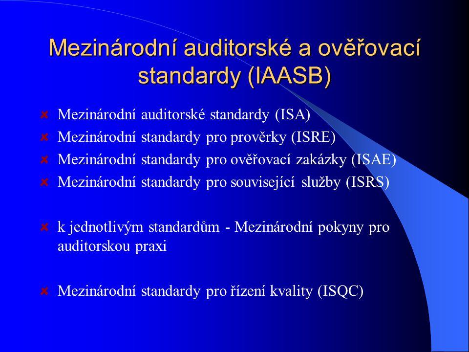 Mezinárodní auditorské a ověřovací standardy (IAASB) Mezinárodní auditorské standardy (ISA) Mezinárodní standardy pro prověrky (ISRE) Mezinárodní standardy pro ověřovací zakázky (ISAE) Mezinárodní standardy pro související služby (ISRS) k jednotlivým standardům - Mezinárodní pokyny pro auditorskou praxi Mezinárodní standardy pro řízení kvality (ISQC)
