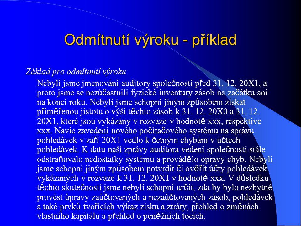 Odmítnutí výroku - příklad Základ pro odmítnutí výroku Nebyli jsme jmenováni auditory spole č nosti p ř ed 31.