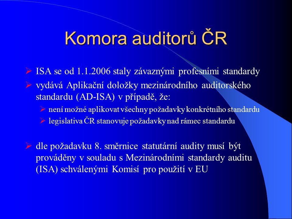 Komora auditorů ČR  ISA se od 1.1.2006 staly závaznými profesními standardy  vydává Aplikační doložky mezinárodního auditorského standardu (AD-ISA) v případě, že:  není možné aplikovat všechny požadavky konkrétního standardu  legislativa ČR stanovuje požadavky nad rámec standardu  dle požadavku 8.