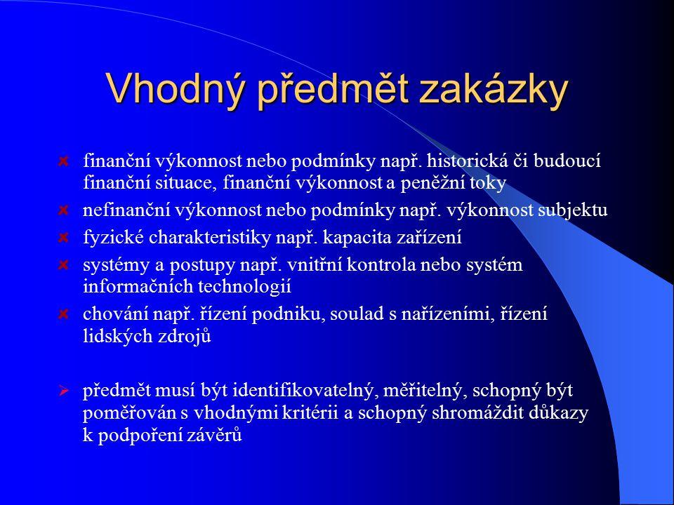 Vhodný předmět zakázky finanční výkonnost nebo podmínky např.