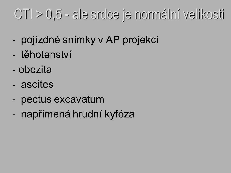 - -pojízdné snímky v AP projekci - -těhotenství - obezita - -ascites - -pectus excavatum - -napřímená hrudní kyfóza CTI > 0,5 - ale srdce je normální
