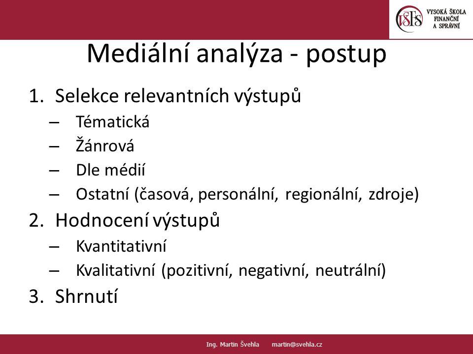 Mediální analýza - postup 1.Selekce relevantních výstupů – Tématická – Žánrová – Dle médií – Ostatní (časová, personální, regionální, zdroje) 2.Hodnocení výstupů – Kvantitativní – Kvalitativní (pozitivní, negativní, neutrální) 3.Shrnutí 10.