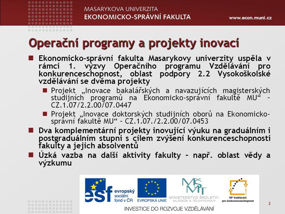 www.econ.muni.cz 2 Operační programy a projekty inovací Ekonomicko-správní fakulta Masarykovy univerzity uspěla v rámci 1.