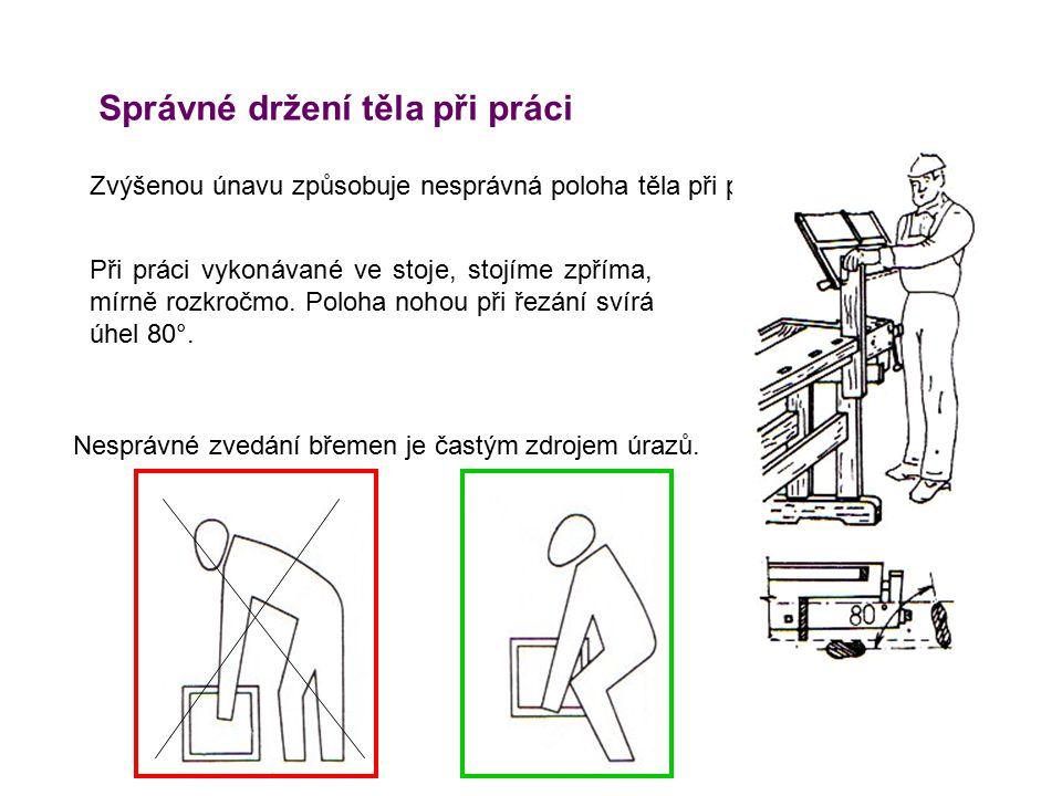 Správné držení těla při práci Zvýšenou únavu způsobuje nesprávná poloha těla při práci. Při práci vykonávané ve stoje, stojíme zpříma, mírně rozkročmo