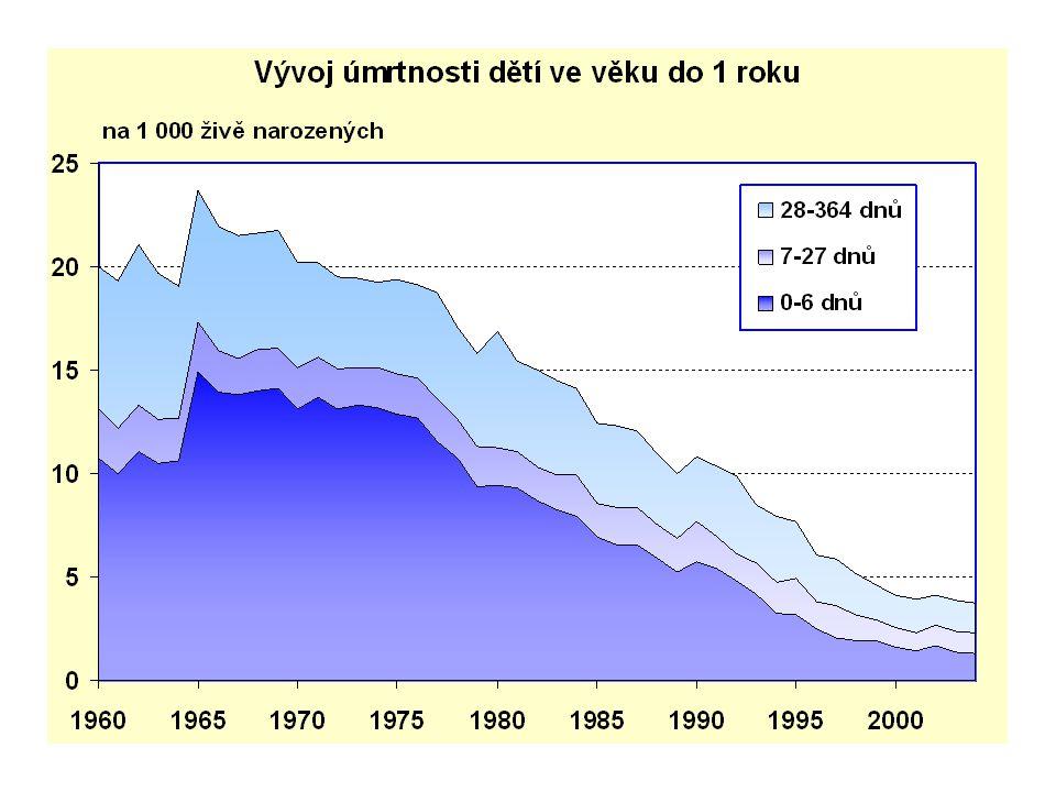 Demografické stárnutí Jev typický pro vyspělé země Růst podílu starších věkových skupin v populaci Výsledek dvou procesů: - klesající porodnost - pokles úmrtnosti Následkem je rostoucí hodnota indexu stáří (110,4 - r.