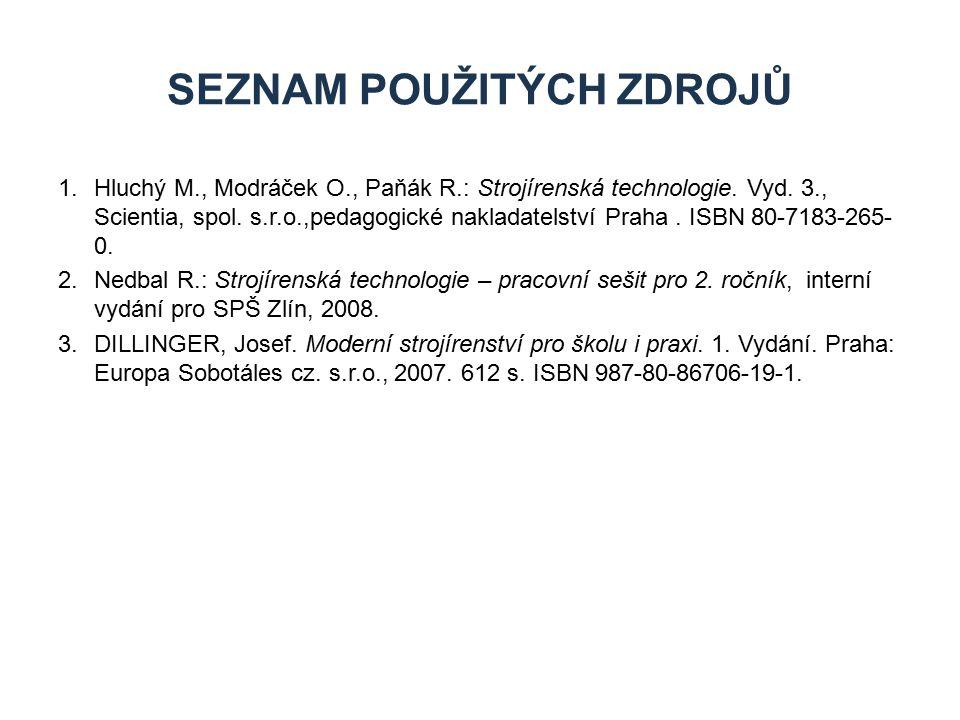 SEZNAM POUŽITÝCH ZDROJŮ 1.Hluchý M., Modráček O., Paňák R.: Strojírenská technologie. Vyd. 3., Scientia, spol. s.r.o.,pedagogické nakladatelství Praha