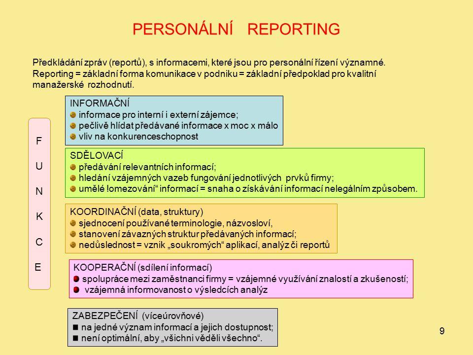 9 PERSONÁLNÍ REPORTING Předkládání zpráv (reportů), s informacemi, které jsou pro personální řízení významné. Reporting = základní forma komunikace v