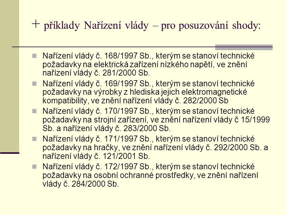 + příklady Nařízení vlády – pro posuzování shody: Nařízení vlády č.