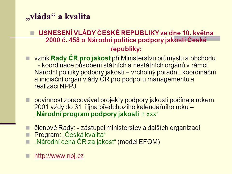 """""""vláda a kvalita USNESENÍ VLÁDY ČESKÉ REPUBLIKY ze dne 10."""