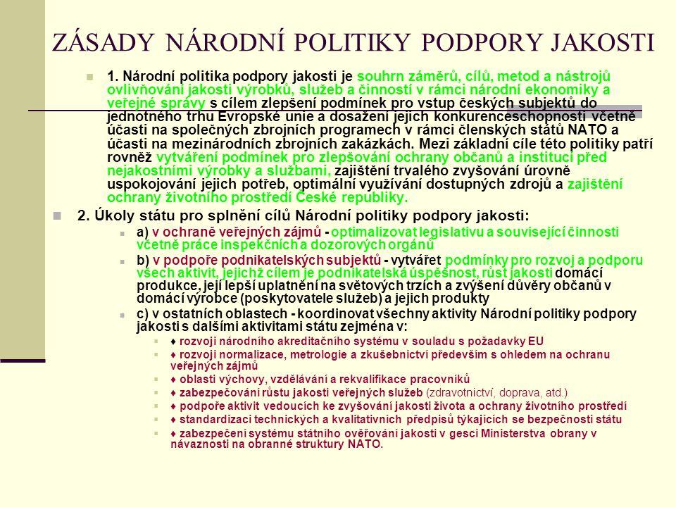 ZÁSADY NÁRODNÍ POLITIKY PODPORY JAKOSTI 1.