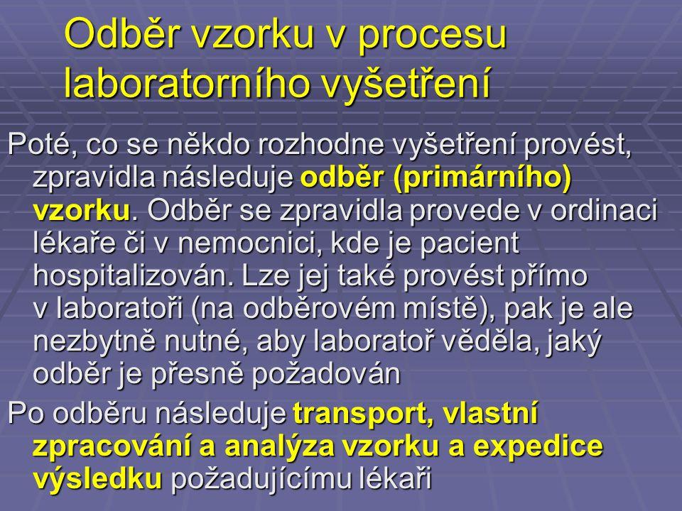 Proces laboratorního vyšetřování PACIENT/LÉKAŘ/S ESTRA LABORATOŘ Indikace vyšetření – zda, jaké Vlastní provedení odběru Transport materiálu Rozhodnutí, jak zpracovat Vlastní zpracování materiálu Zaslání výsledku Interpretace výsledku (nikdy jednotlivě, vždy společně s ostatními výsledky)