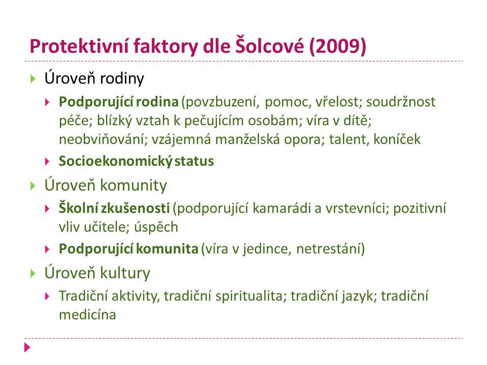 Protektivní faktory dle Šolcové (2009)  Úroveň rodiny  Podporující rodina (povzbuzení, pomoc, vřelost; soudržnost péče; blízký vztah k pečujícím oso