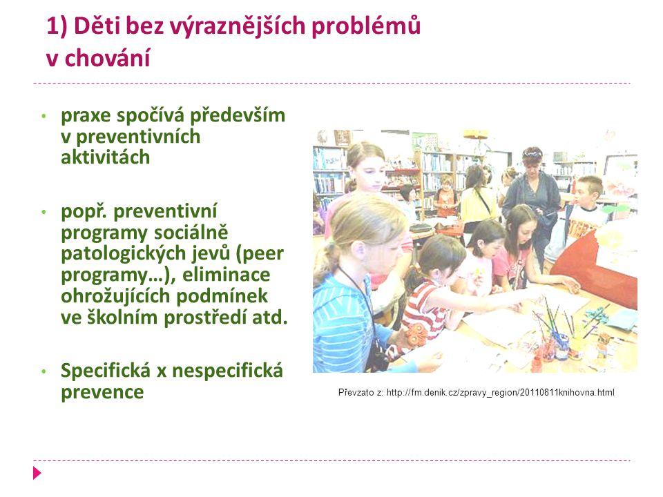 1) Děti bez výraznějších problémů v chování praxe spočívá především v preventivních aktivitách popř. preventivní programy sociálně patologických jevů