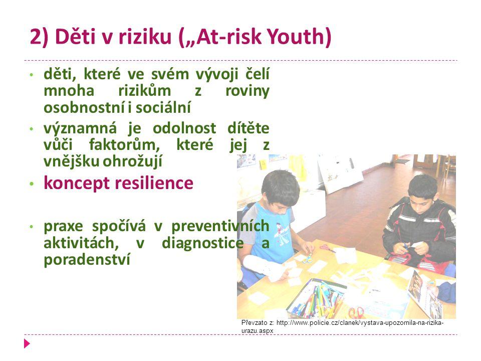 """2) Děti v riziku (""""At-risk Youth) děti, které ve svém vývoji čelí mnoha rizikům z roviny osobnostní i sociální významná je odolnost dítěte vůči faktor"""