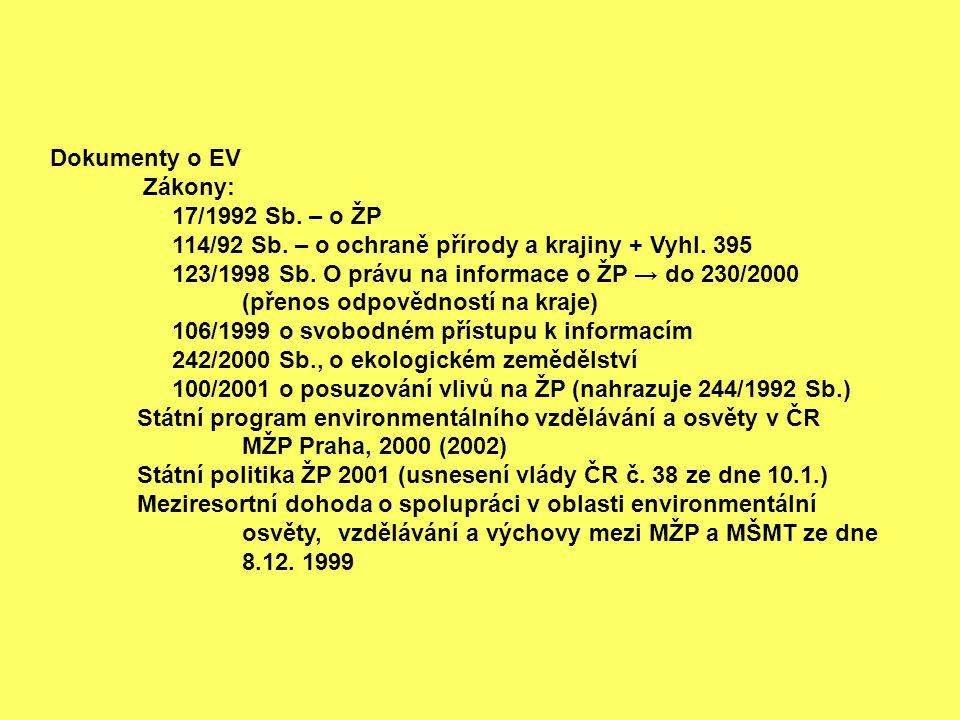 Dokumenty o EV Zákony: 17/1992 Sb. – o ŽP 114/92 Sb. – o ochraně přírody a krajiny + Vyhl. 395 123/1998 Sb. O právu na informace o ŽP → do 230/2000 (p