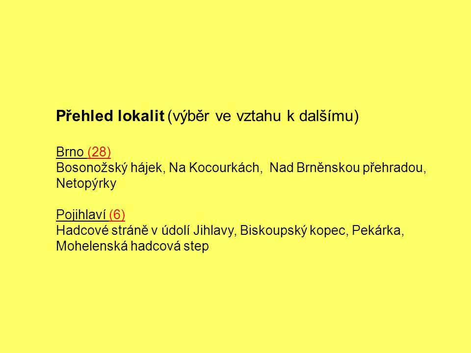 Přehled lokalit (výběr ve vztahu k dalšímu) Brno (28) Bosonožský hájek, Na Kocourkách, Nad Brněnskou přehradou, Netopýrky Pojihlaví (6) Hadcové stráně