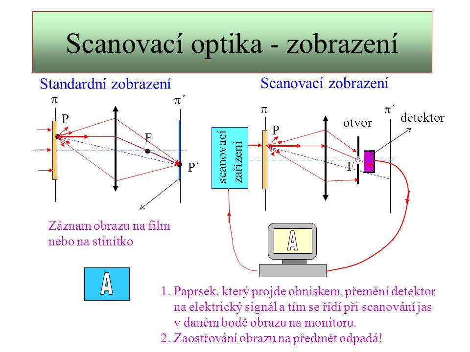 Umělý kontrast obrazu Standardní metody: temné pole fázový kontrast interferenční kontrast polarizační kontrast Metody scanovací laserové optiky: Tomografie (analogie modifikací temného pole) 3D topografie (zobrazení řezů 3D předmětem) polarizační kontrast ( i v kombinaci s tomografií) Výhody::  záznam obrazů TV rychlostí (25 snímků za sec.)  snadná modifikace kontrastu softwarem počítače  využití IR záření k osvětlení a zobrazení  počítačové zpracování sady snímků umožňuje modifikovat kontrast i získat zobrazení 3D preparátu
