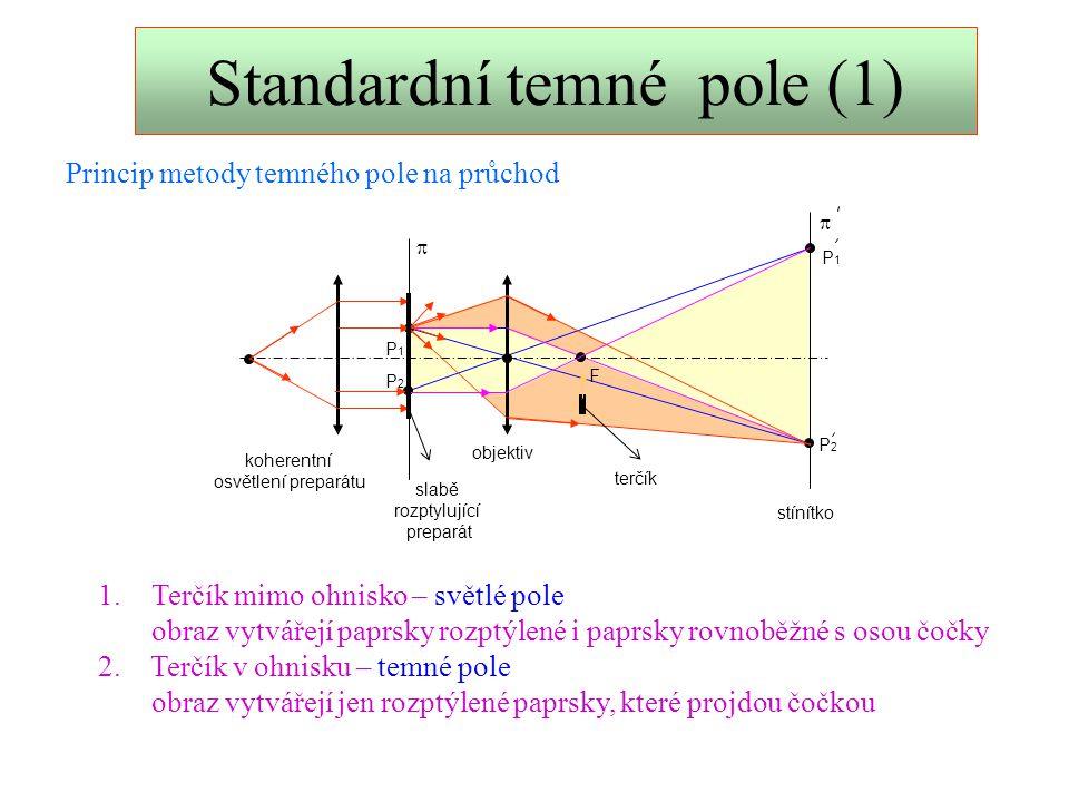 Standardní temné pole (2) F P1P1 P2P2 P2P2 P1P1   slabě rozptylující preparát objektiv stínítko koherentní osvětlení preparátu Modifikace metody temného pole nepropustná polorovina Zdánlivé osvětlení preparátu Nepropustná polorovina vložená do ohniska pohltí nejen paprsky rovnoběžné s osou čočky, ale i polovinu rozptýlených paprsků.