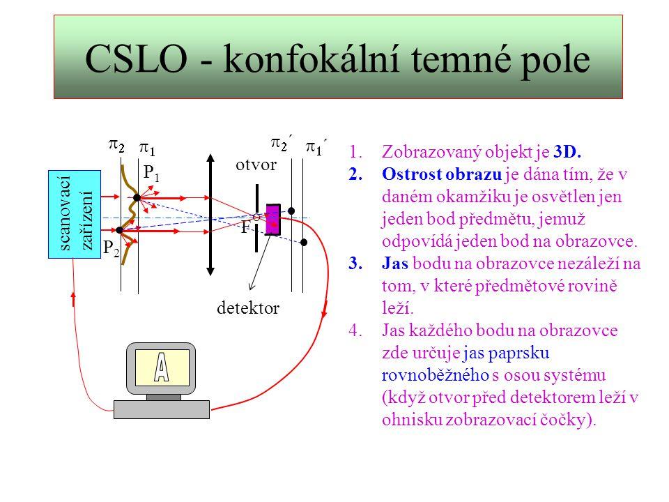 CSLO - konfokální soustavy Z = F 1 D = F 2 Ideální konfokální soustava: Modifikace konfokální soustavy: F1F1 F2F2 P P´ Posuvem otvoru s detektorem vybírám jen směr paprsků rozptýlených objektem, které na monitoru realizují jas.