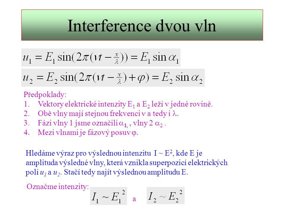 Výpočet pomocí fázorů   E2E2 E1E1 E  Fázory Vycházeje z definice funkce sinus lze stav vlnění znázornit jako fázory.