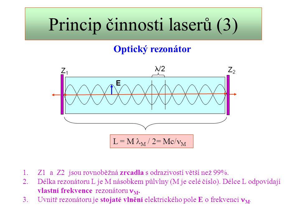 Princip činnosti laserů (4) A  Spontánní emise 1.Když se atom nenachází v elektrickém poli, přechází do stabilního stavu samovolně.
