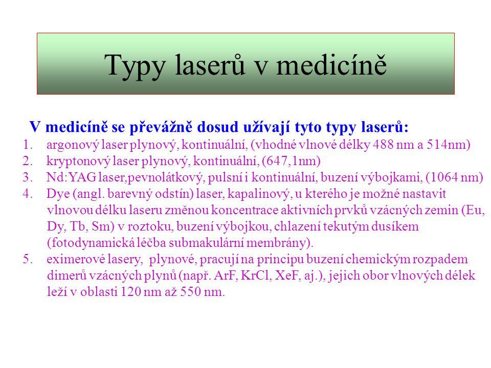 Koagulační účinek Koagulační účinek: laserový paprsek je absorbován v tkáni či tkáni sousední, což je provázeno uvolněním tepla, které denaturuje bílkoviny (koagulace).