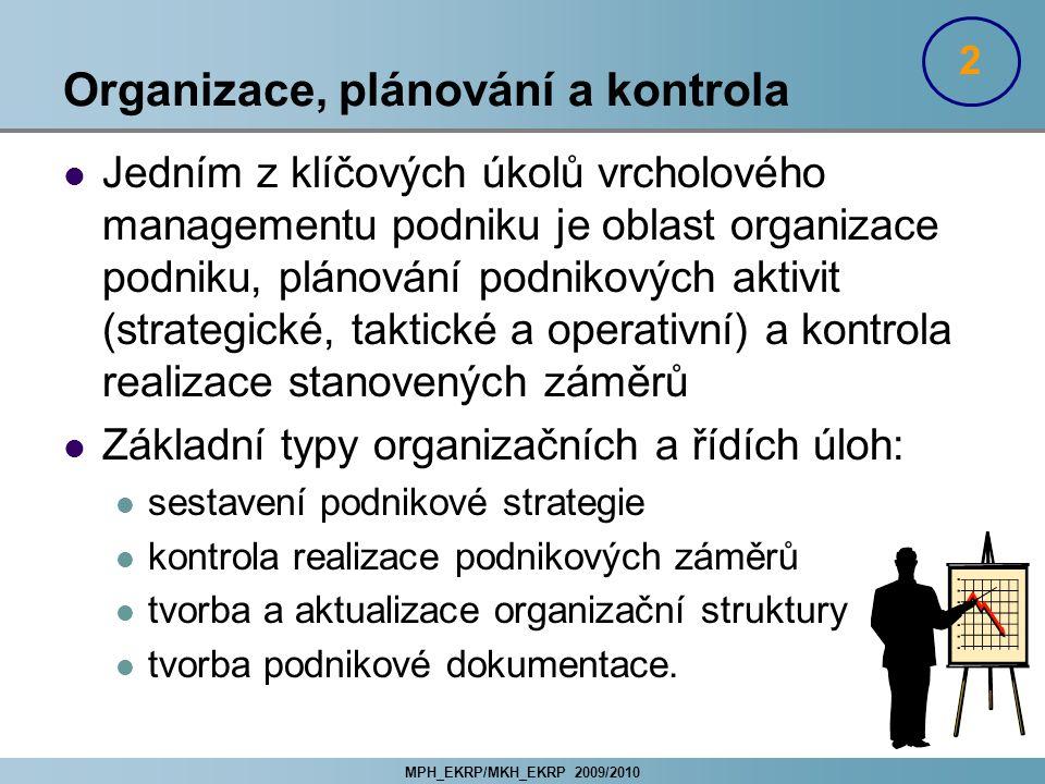 MPH_EKRP/MKH_EKRP 2009/2010 Organizace, plánování a kontrola Jedním z klíčových úkolů vrcholového managementu podniku je oblast organizace podniku, pl