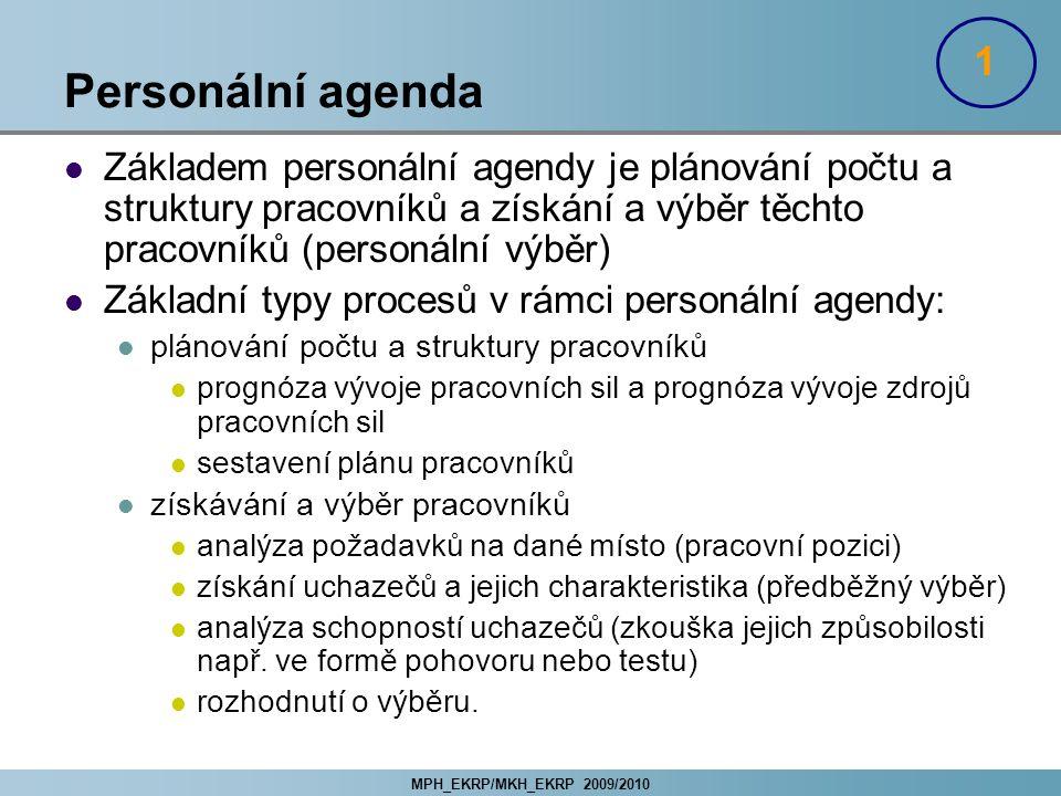 MPH_EKRP/MKH_EKRP 2009/2010 Personální agenda Základem personální agendy je plánování počtu a struktury pracovníků a získání a výběr těchto pracovníků