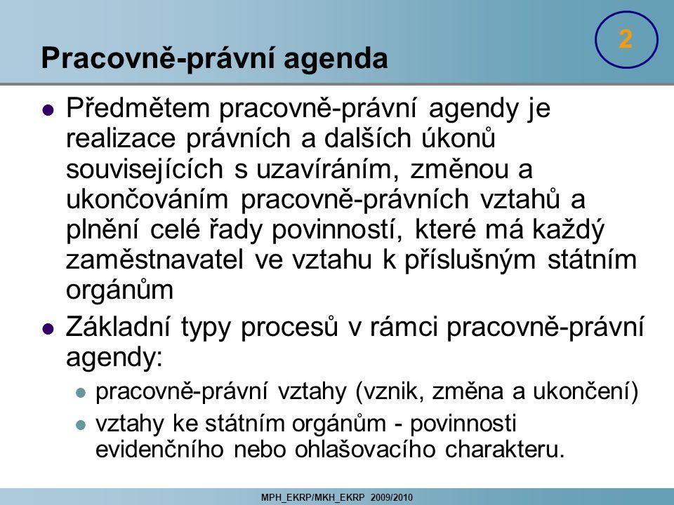MPH_EKRP/MKH_EKRP 2009/2010 Pracovně-právní agenda Předmětem pracovně-právní agendy je realizace právních a dalších úkonů souvisejících s uzavíráním,