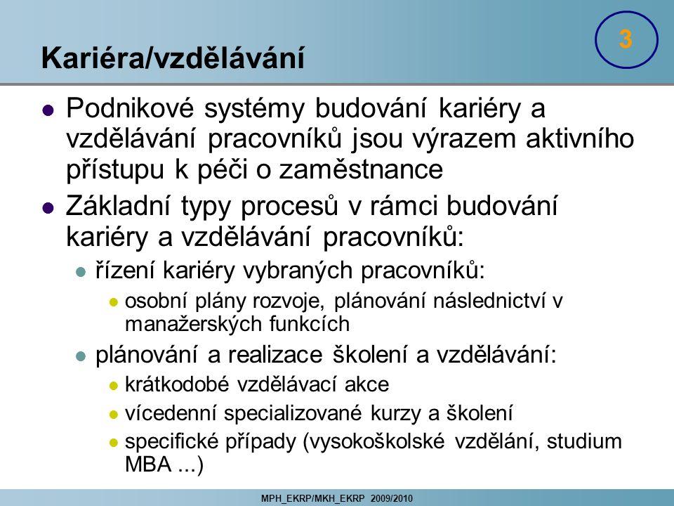 MPH_EKRP/MKH_EKRP 2009/2010 Kariéra/vzdělávání Podnikové systémy budování kariéry a vzdělávání pracovníků jsou výrazem aktivního přístupu k péči o zam