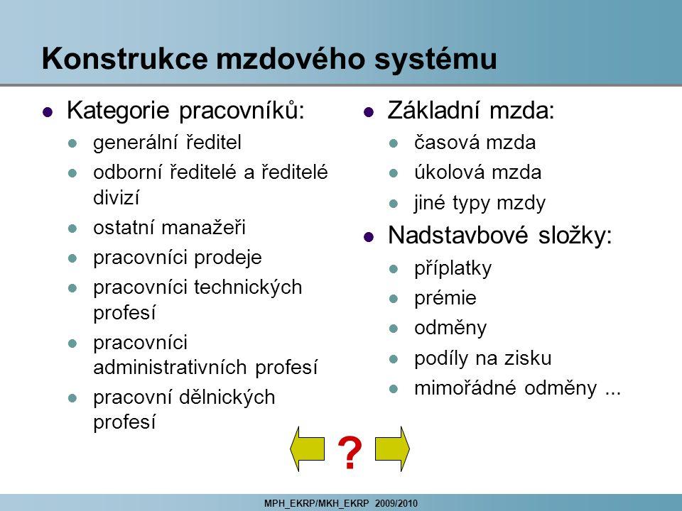 MPH_EKRP/MKH_EKRP 2009/2010 Konstrukce mzdového systému Kategorie pracovníků: generální ředitel odborní ředitelé a ředitelé divizí ostatní manažeři pr
