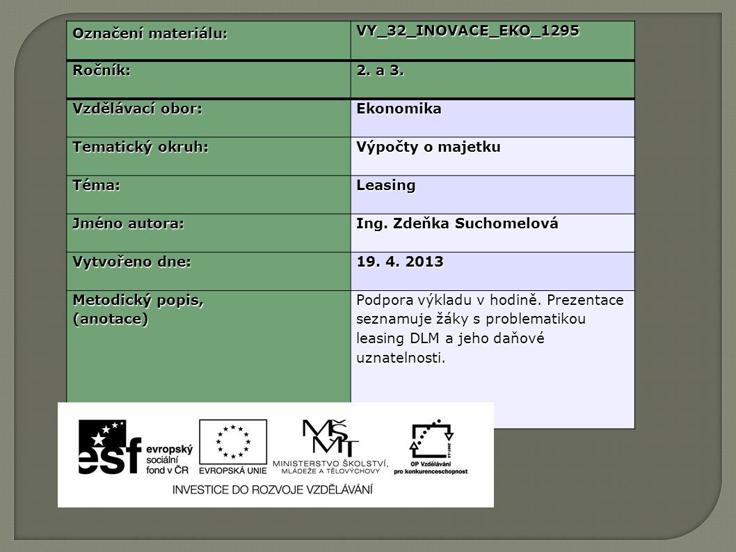 Označení materiálu : VY_32_INOVACE_EKO_1295Ročník: 2.
