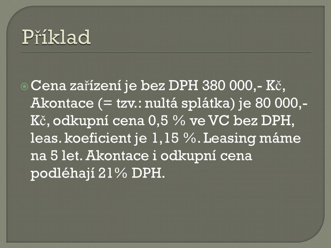 Bez DPHDPH 21%S DPH PC380 000,-79 800,-459 800,- AKONTACE80 000,-16 80096 800,- ZC 0,5 %1 900,-399,-2 299,- 459 800 x 1,15 = 528 770 – 96 800 - 2 299 = 429 671 : 60 m ě síc ů (5 roky) = 7 161,- K č