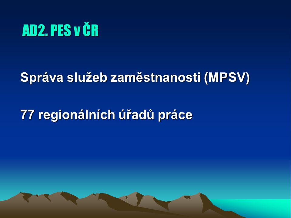 AD2. PES v ČR Správa služeb zaměstnanosti (MPSV) 77 regionálních úřadů práce