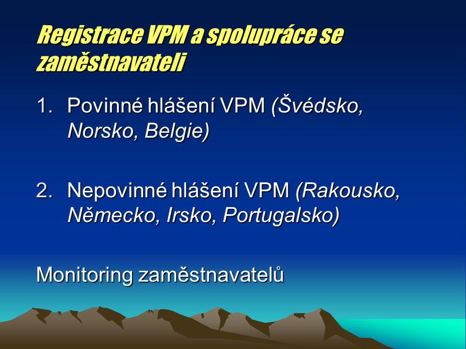 Registrace VPM a spolupráce se zaměstnavateli 1.Povinné hlášení VPM (Švédsko, Norsko, Belgie) 2.Nepovinné hlášení VPM (Rakousko, Německo, Irsko, Portugalsko) Monitoring zaměstnavatelů
