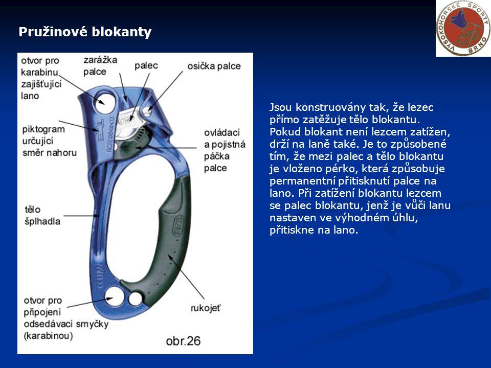 Pružinové blokanty Jsou konstruovány tak, že lezec přímo zatěžuje tělo blokantu. Pokud blokant není lezcem zatížen, drží na laně také. Je to způsobené
