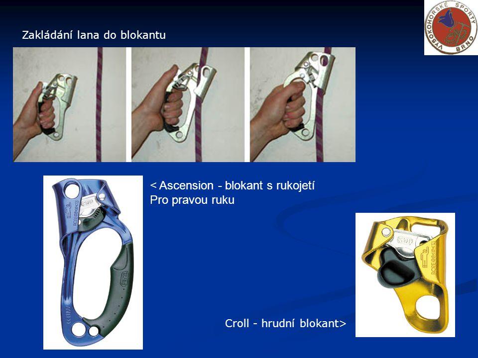 Zakládání lana do blokantu < Ascension - blokant s rukojetí Pro pravou ruku Croll - hrudní blokant>