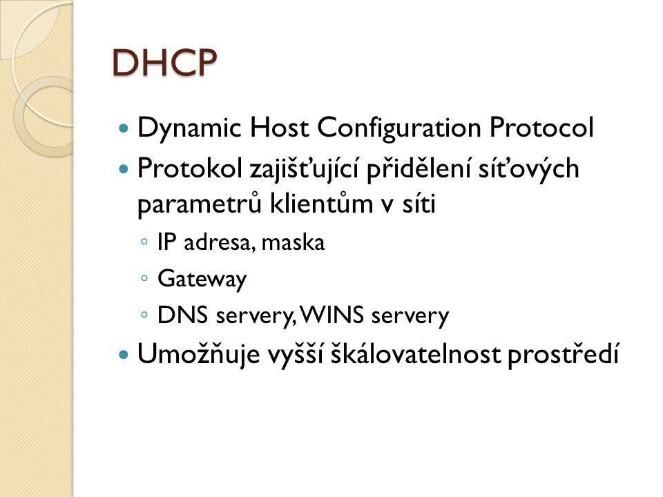 DHCP Dynamic Host Configuration Protocol Protokol zajišťující přidělení síťových parametrů klientům v síti ◦ IP adresa, maska ◦ Gateway ◦ DNS servery, WINS servery Umožňuje vyšší škálovatelnost prostředí