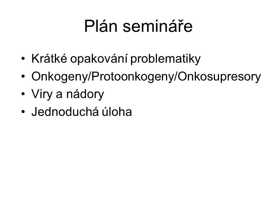 Plán semináře Krátké opakování problematiky Onkogeny/Protoonkogeny/Onkosupresory Viry a nádory Jednoduchá úloha