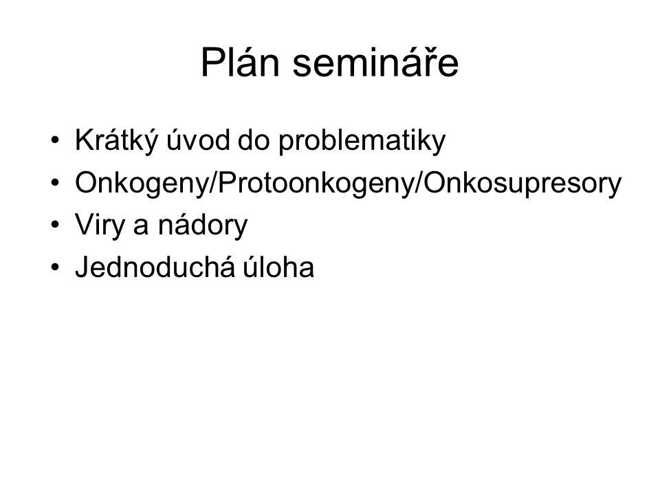 Plán semináře Krátký úvod do problematiky Onkogeny/Protoonkogeny/Onkosupresory Viry a nádory Jednoduchá úloha