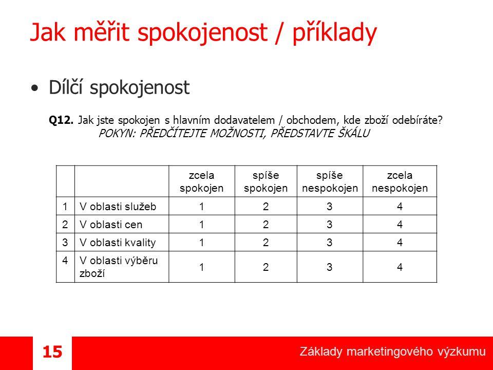 Základy marketingového výzkumu 15 Jak měřit spokojenost / příklady Dílčí spokojenost Q12.