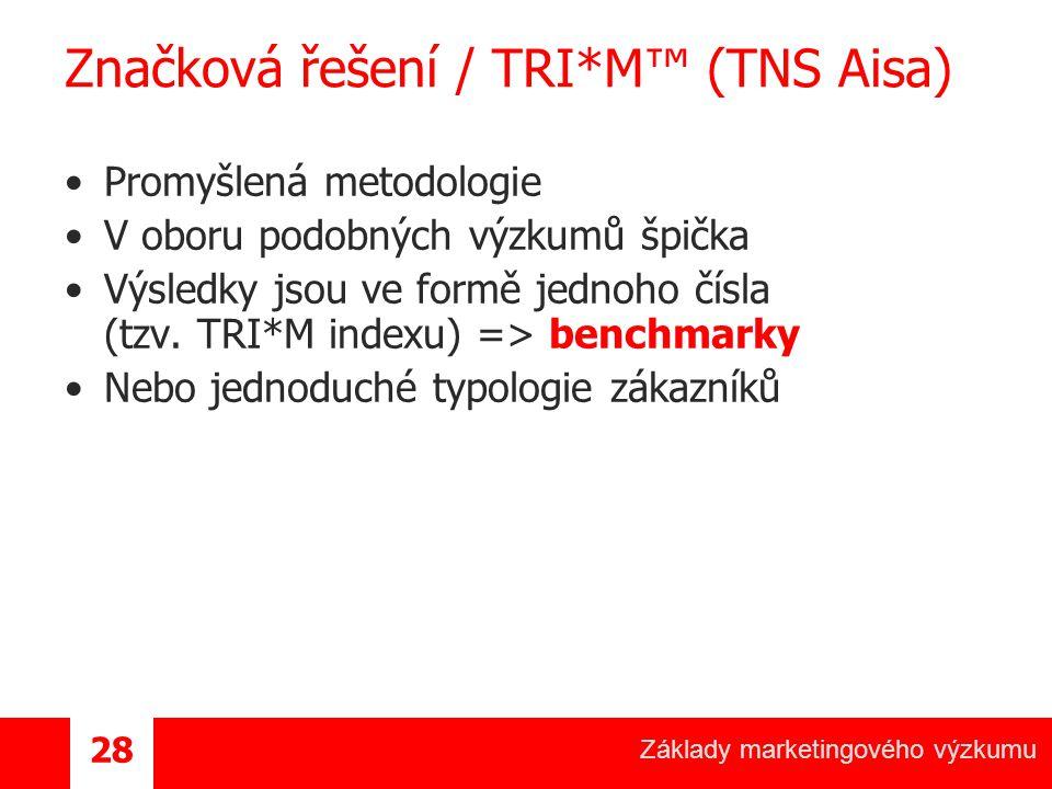 Základy marketingového výzkumu 28 Značková řešení / TRI*M™ (TNS Aisa) Promyšlená metodologie V oboru podobných výzkumů špička Výsledky jsou ve formě jednoho čísla (tzv.