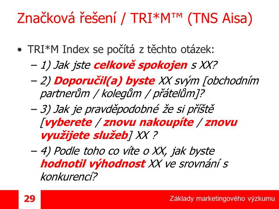 Základy marketingového výzkumu 29 Značková řešení / TRI*M™ (TNS Aisa) TRI*M Index se počítá z těchto otázek: –1) Jak jste celkově spokojen s XX.