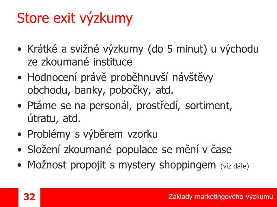 Základy marketingového výzkumu 32 Store exit výzkumy Krátké a svižné výzkumy (do 5 minut) u východu ze zkoumané instituce Hodnocení právě proběhnuvší návštěvy obchodu, banky, pobočky, atd.
