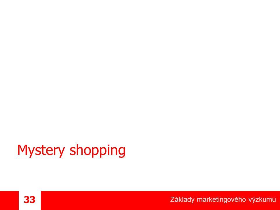 Základy marketingového výzkumu 33 Mystery shopping