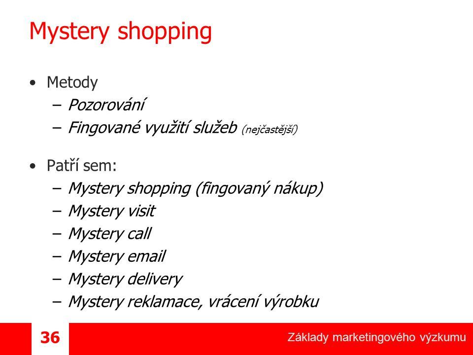 Základy marketingového výzkumu 36 Mystery shopping Metody –Pozorování –Fingované využití služeb (nejčastější) Patří sem: –Mystery shopping (fingovaný nákup) –Mystery visit –Mystery call –Mystery email –Mystery delivery –Mystery reklamace, vrácení výrobku
