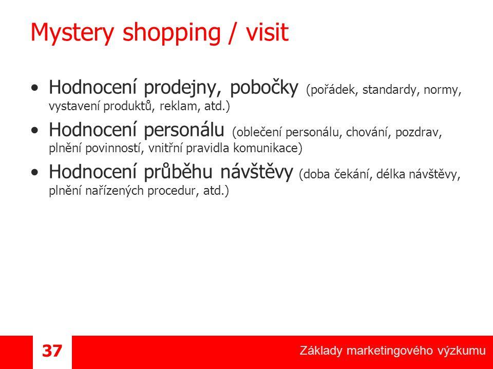 Základy marketingového výzkumu 37 Mystery shopping / visit Hodnocení prodejny, pobočky (pořádek, standardy, normy, vystavení produktů, reklam, atd.) Hodnocení personálu (oblečení personálu, chování, pozdrav, plnění povinností, vnitřní pravidla komunikace) Hodnocení průběhu návštěvy (doba čekání, délka návštěvy, plnění nařízených procedur, atd.)