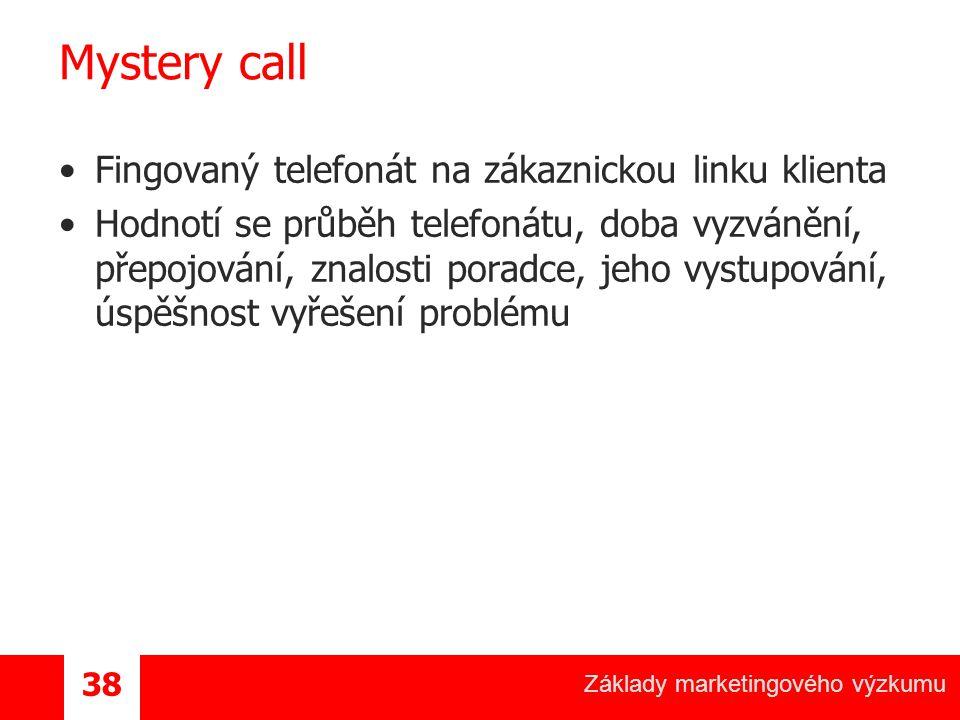 Základy marketingového výzkumu 38 Mystery call Fingovaný telefonát na zákaznickou linku klienta Hodnotí se průběh telefonátu, doba vyzvánění, přepojování, znalosti poradce, jeho vystupování, úspěšnost vyřešení problému