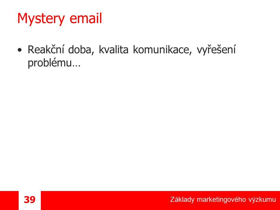 Základy marketingového výzkumu 39 Mystery email Reakční doba, kvalita komunikace, vyřešení problému…